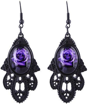 Pendientes Victorianos de #Restyle con Rosas Moradas #gothic #earrings #roses #purple #gothic #altfashion #gotico #victorian #xtremonline