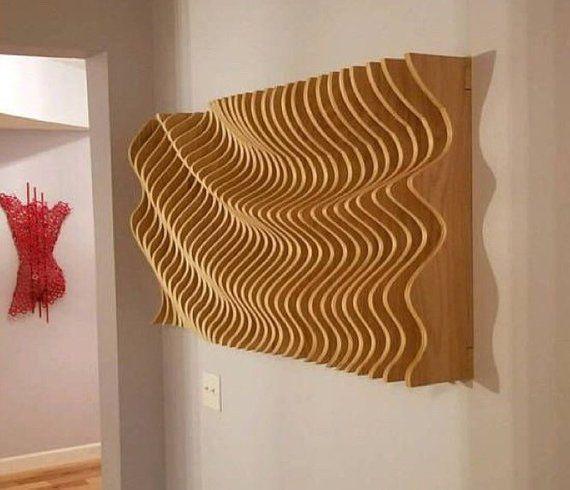 Large Wooden Wall Art Modern Art Parametric Wave 3d Art Wall