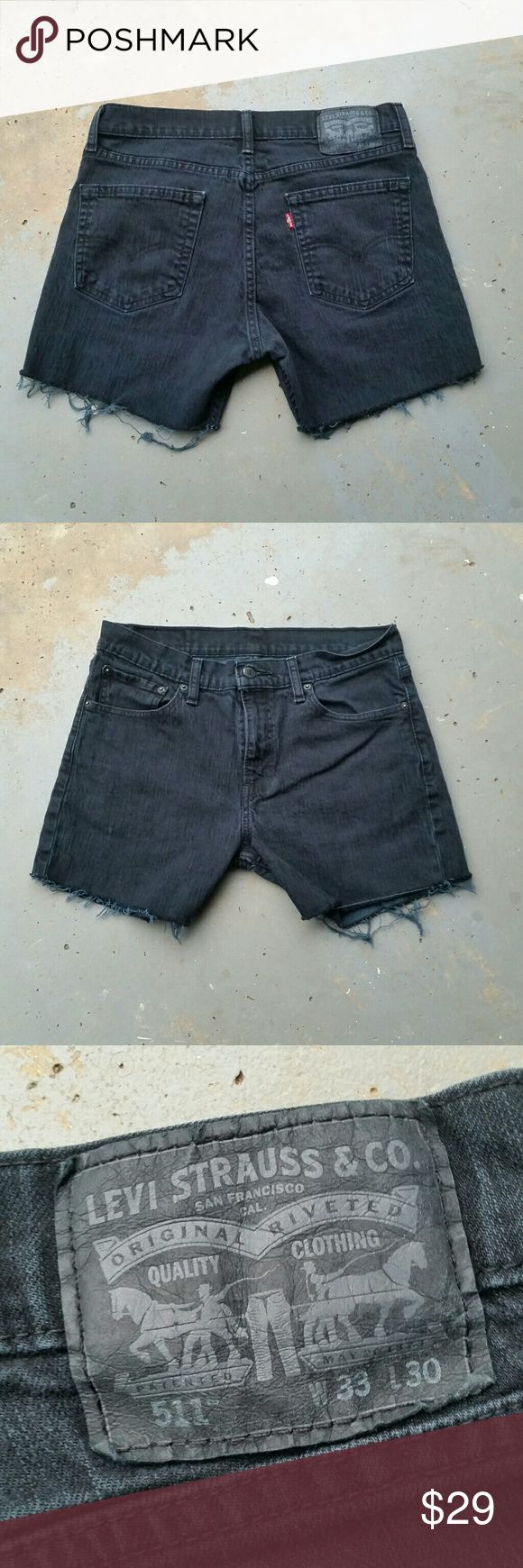 "LEVI'S 511 HIGH WAIST BLACK CUT OFF JEAN SHORTS Levi's 511 high waist black cut off jean shorts. 99% cotton.  1% elastane. 31"" waist.  10"" rise.  4"" inseam.  (#502) Levi's  Shorts Jean Shorts"