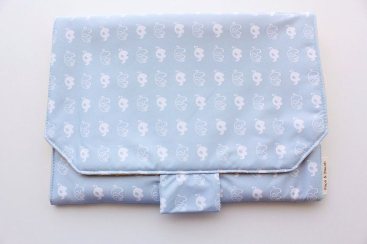 Travel changing pad, changing mat, for babies with nappy pocket, blue elephant, for baby boy