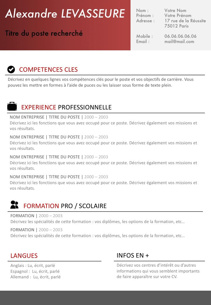 Exemple de CV Simple et efficace gratuit à télécharger ...
