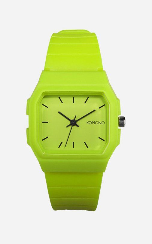 The Komono Apollo Lime Watch is a contemporary yet classic retro watch. Bright and lively, this watch is totally wearable for some fun in the sun, or even for a plunge in the pool on a hot day. Easily paired with both women's and men's clothing, this watch is your go-to piece for a casual outing, and it's perfect for mixing and matching. http://www.zocko.com/z/JFW4j