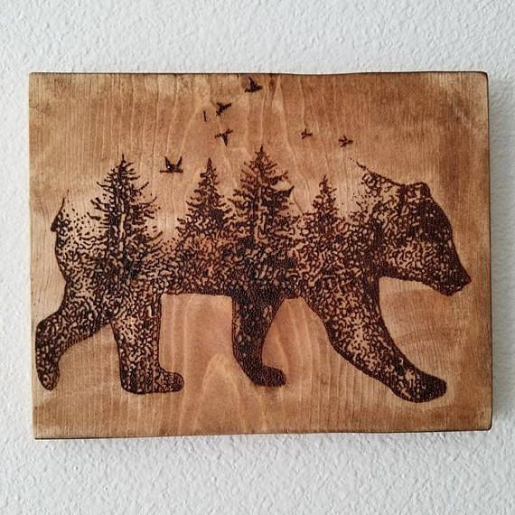 Beautiful bear with forest combination wood burned. Roughly 9×11. Each piece is