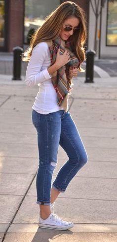 #fall #fashion casual / tartan scarf + denim