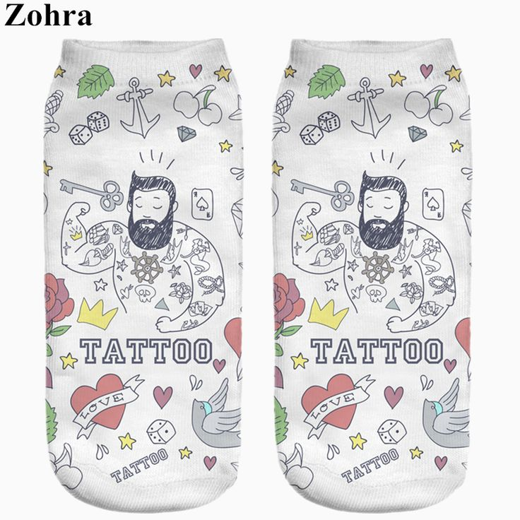 Zohra Hot Sale Funny Tattoo Full Printing Women Low Cut Ankle Sock Meias Cotton Hosiery Casual Slippers Calcetines Socks * Find out more by clicking the image