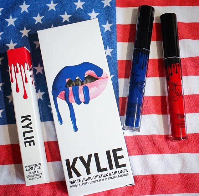 All American: Jenner showed off her red, white, and blue lip kit products on Monday...