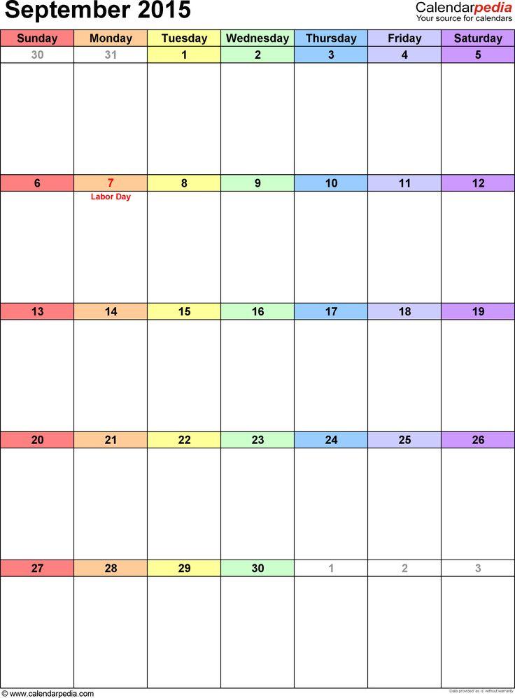 September 2015 calendar as printable Word, Excel & PDF templates