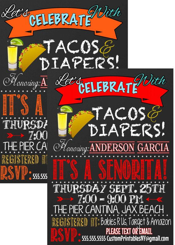 Its a senorita  Tacos and diaper baby shower by CustomPrintablesNY