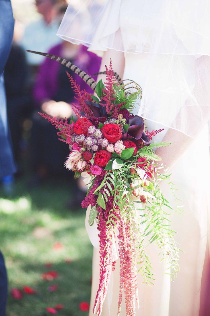 Cascade bouquet red garden rose blushing bride protea red astilbe pepper berry hanging - Red garden rose bouquet ...