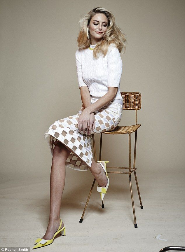 Tamsin Egerton wears Top, skirt and shoes, Louis Vuitton. Earrings, Emporio Armani