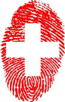 Schweiz, Flagge, Fingerabdruck