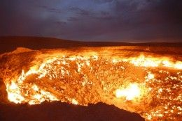 10 Most Unbelievable Places that really Exist - The Door to Hell (Turkmenistan)  The Door to Hell is situated in Derweze area which is a village in Turkmenistan in the middle of the Karakum Desert. The inhabitants are semi-nomadic and they are composed of 350 people who were disbanded by the President of the government in 2004 saying that they were an unpleasant sight to tourists.