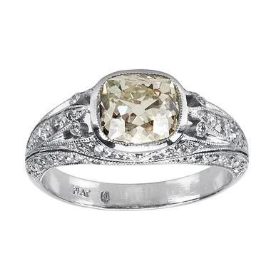 Edwardian Diamond Solitaire Ring, in Platinum