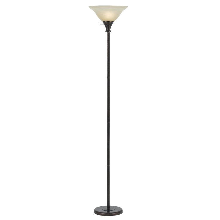 150-watt 3-way Torchiere Floor Lamp with Glass Shade (Floor Lamp), Gold (Metal)