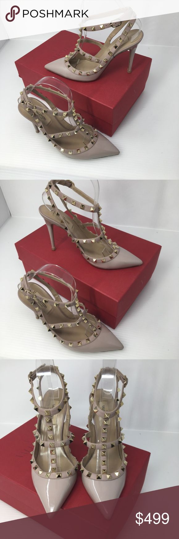 Valentino Nude Poudre Rockstud T Strap Pumps Beauties!!! I had the soles and heel points reconditioned on these and they are ready to hit the town!!, Please zoom on all photos for condition detail. Sale will include the box shown and a dustbag. Size is 38. Valentino Shoes Heels