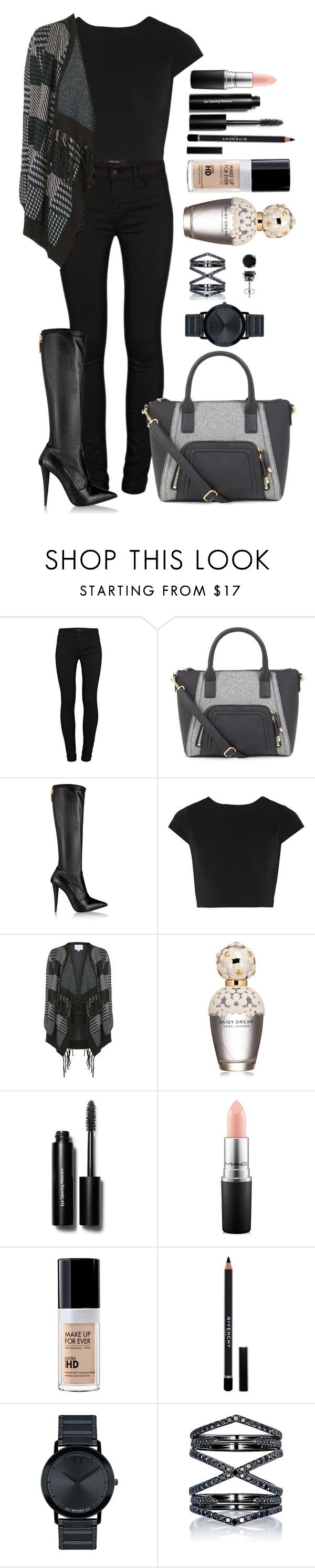 """""""Untitled #1332"""" by fabianarveloc on Polyvore featuring J Brand, Giuseppe Zanotti, Alice + Olivia, Topshop, Marc Jacobs, Bobbi Brown Cosmetics, MAC Cosmetics, MAKE UP FOR EVER, Givenchy and Movado"""