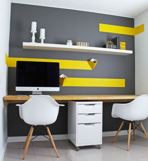 Budget home office design with white IKEA floating shelf