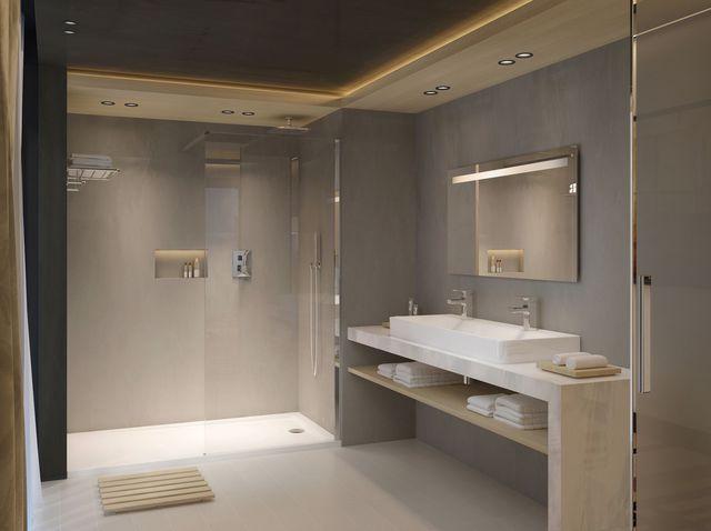 Salle de bains Vox, plans vasques en céramique et meubles finition mélaminé ou…