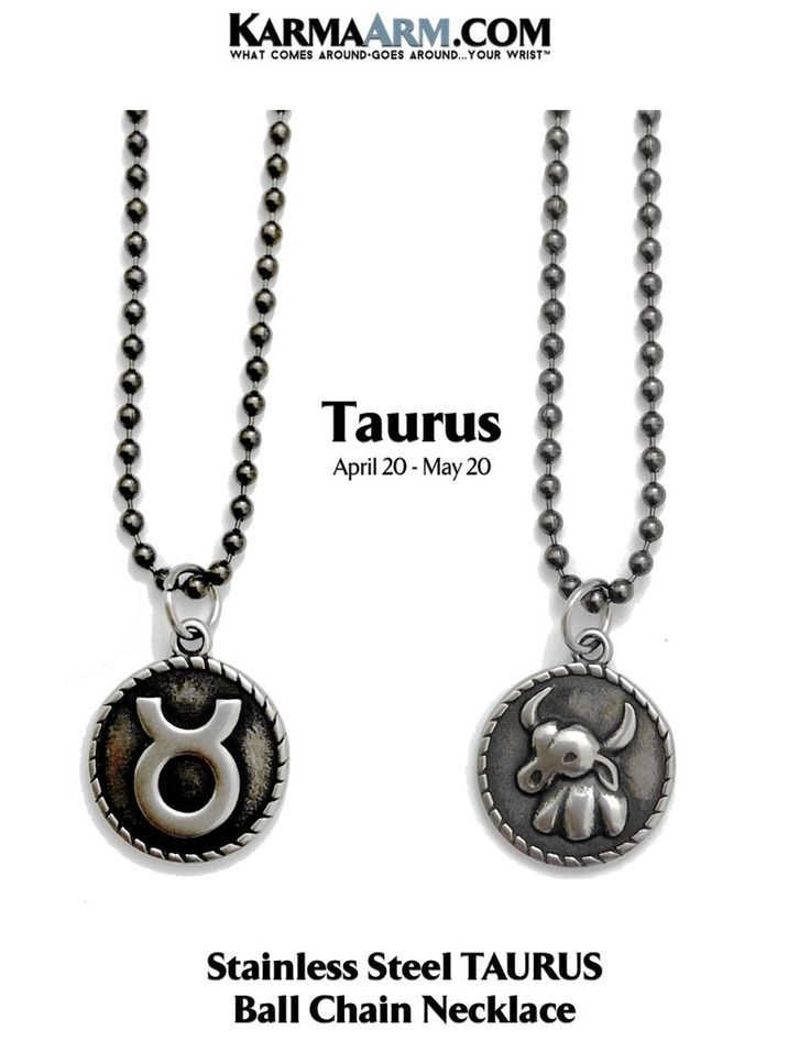 Zodiac Horoscope Astrology KarmaArm Taurus Necklace Stainless Steel Birth Sign Jewelry