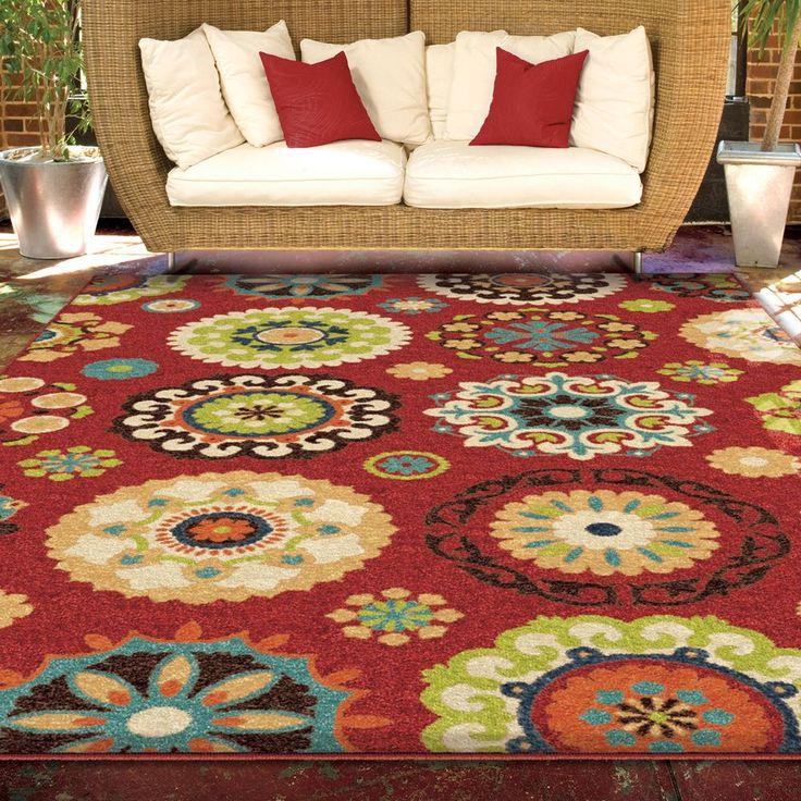 Indoor Outdoor Promise Salsalito Red Geometric Indoor