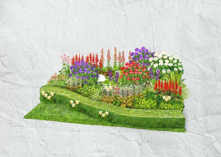 Schattenbeet: Blühende Teppiche aus Elfenblume und Immergrün bespielen das Beet, das Schattenstauden wie Prachtspiere oder Purpurglöckchen zu unterschiedlichen Blühzeiten farblich akzentuieren.