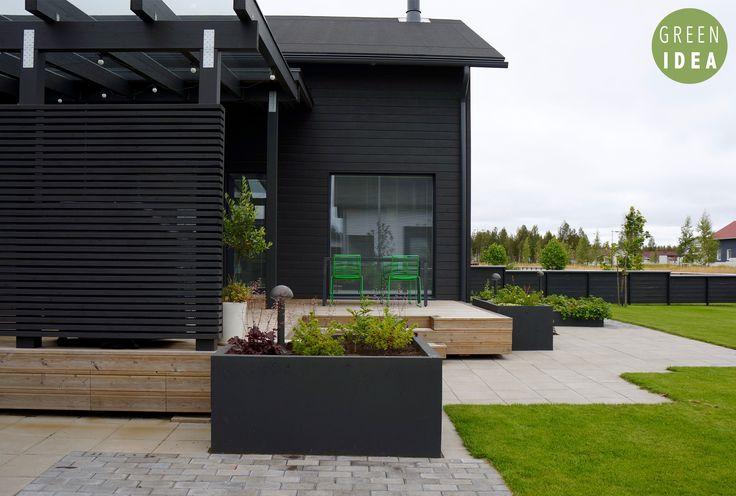 Rima-aita ja istutusallas Pihasuunnittelu | GREEN IDEA | Oulu, Helsinki, Rovaniemi, Turku, Tampere, Kuopio