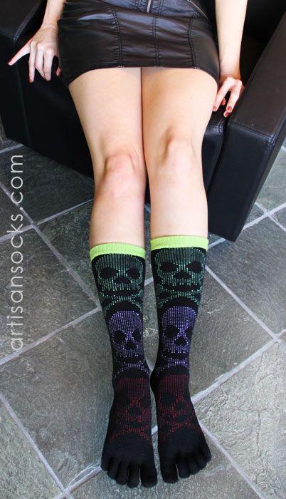 K. Bell 5 Toe Socks- Multicolor Skull Socks with Toes from Artisan Socks www.artisansocks.com