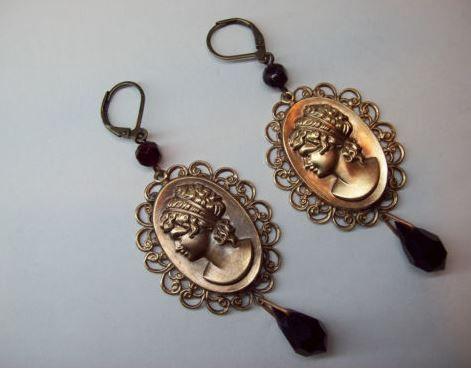 Vintage Czech filigree earrings.