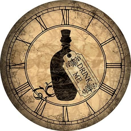 Drink Me Bottle Worn Wall Clock on CafePress.com