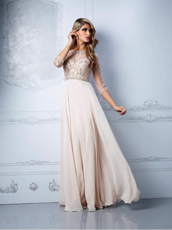 A-Line Half Sleeves Scoop Beading Chiffon Floor-Length Prom Dresses