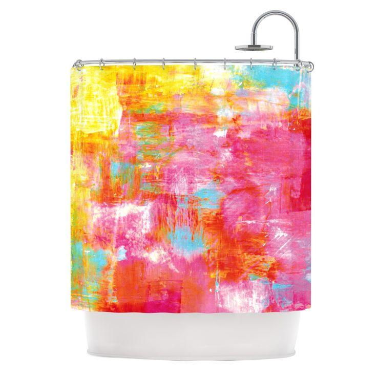 "Ebi Emporium ""Off The Grid III"" Pink Yellow Shower Curtain"
