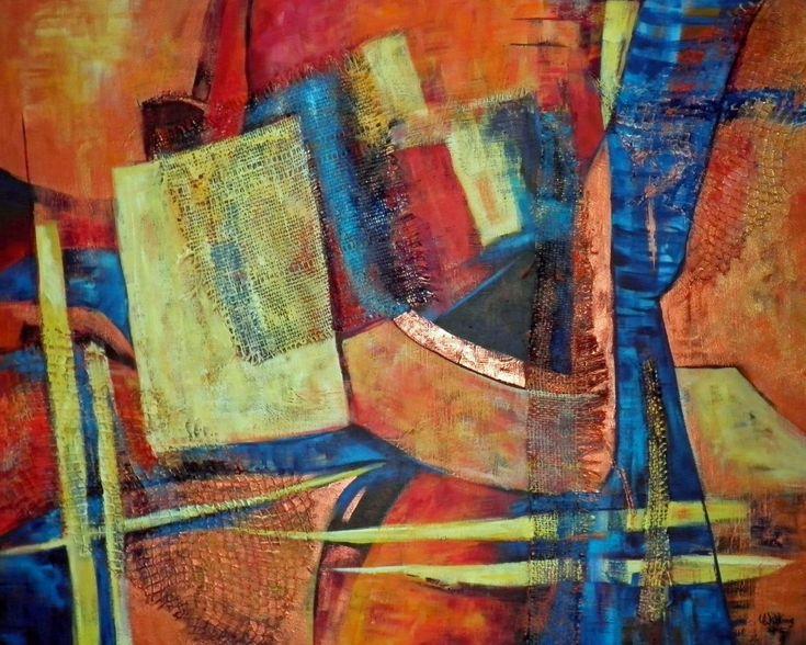 Reflectie, schilderij van Vera Wilting   Abstract   Modern   Kunst