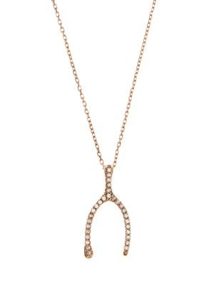 AAMAYA BY PRIYANKA Topaz & rose gold-plated wishbone necklace