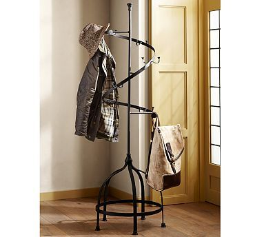 Lusting for the Parker Coat Rack from Pottery Barn...would look amazing mirroring our black metal spiral staircase.