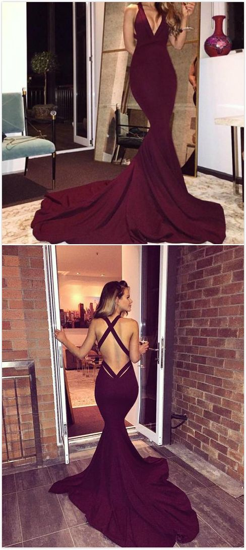 Burgundy V Neck Backless Sweep Train Mermaid Prom Dresses 2017