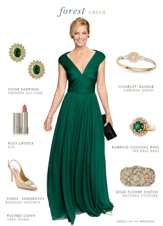 Forest Green Gown. These elegant dark green gowns are a perfect choice for a fall or winter Mother-of-the-Bride, bridesmaid, or black tie wedding guest. A gorgeous emerald green gown!
