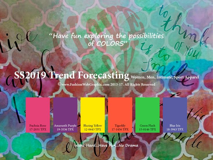 SS2019 Trend Forecasting for Women, Men, Intimate, Sport Apparel - Have fun exploring the possibilities of COLORS. www.JudithNg.com