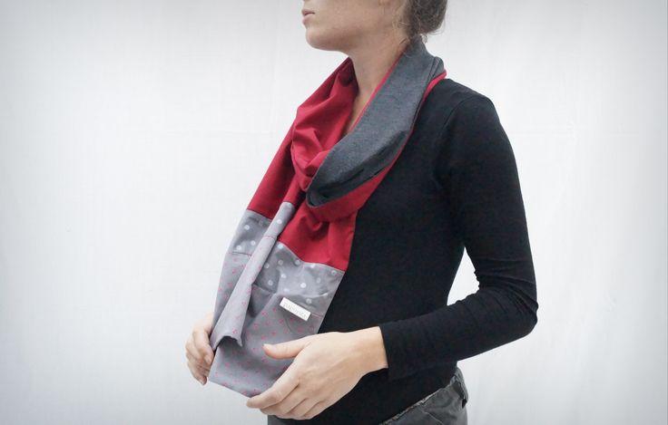 foulard en jersey anthracite, coton rouge carmin et imprimé cerises : Echarpe, foulard, cravate par papoyita