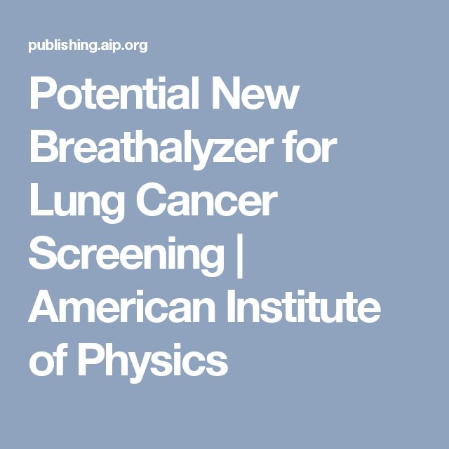 Potential New Breathalyzer for Lung Cancer Screening | American Institute of Physics