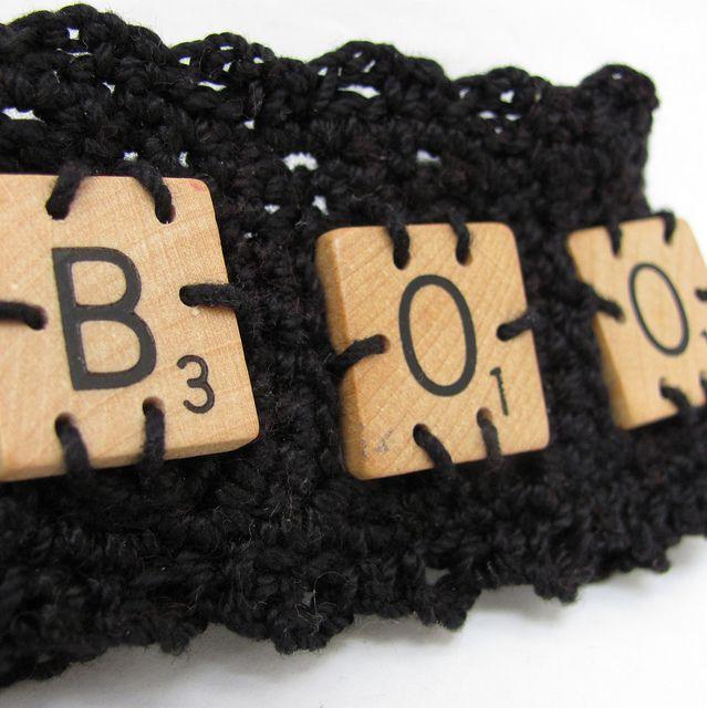 scrabble tile cuff – boo!Crochet Bracelets, Favourite Crochethack, 2014 Halloween, Tile Cuffs, Bracelets Boos, Crochet Gifts, Scrabble Tiles, Tile Crochet, Halloween Crochet