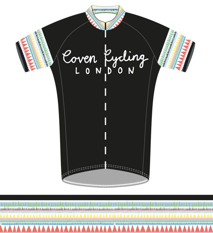 We're hugely excited to announce the launch of our new Coven cycling kit. We've teamed up with British purveyors of fine cycling apparel, Milltag, to bring you this exclusive, Italian made kit.  Incorporating craft elements inspired by Juliet's travels, the Coven Cycling kit combines a brightly patterned motif with a hand drawn logo, a nod to our DIY aesthetic.