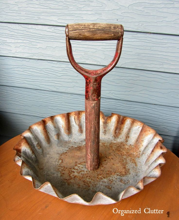 Farm Feeder Tray/Shovel Handle Repurpose www.organizedclutterqueen.blogspot.com