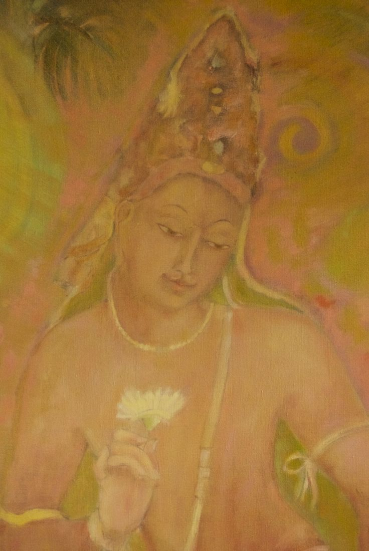 Bodhicitta 3 in gold and pink and green by Floor Hendriks
