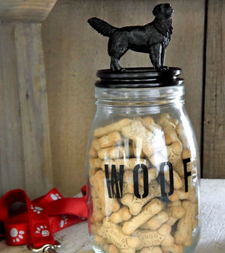 Tails will be wagging when you hand out biscuits from your own DIY dog treat jar. Not only is it functional, but it is super cute—you can stencil whatever you want on it and paint it a color that matches your décor.