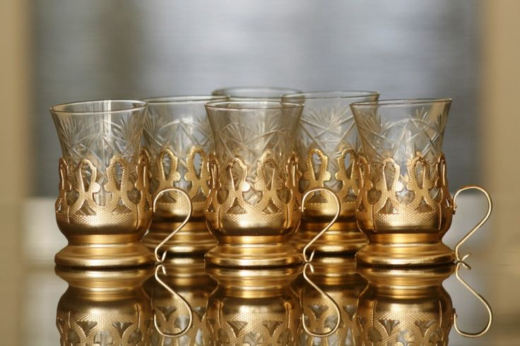 "SET OF VINTAGE TEA GLASS HOLDERS ""PODSKANNIK"" 6pcs, original cut glass, marked. Made in Russia in 1960s, 80 EUR"