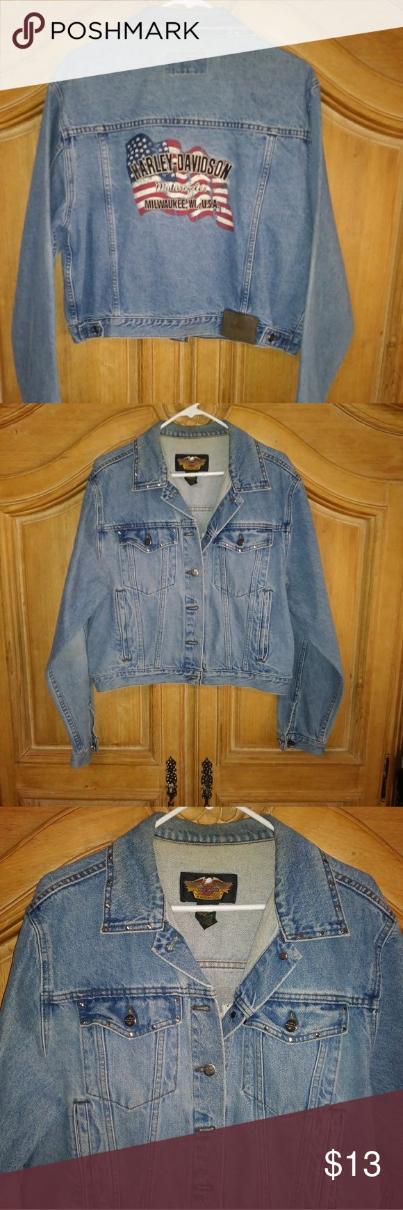Harley-Davidson Blue Jean Jacket XL American Flag Harley-Davidson Jean Jacket Flag on back with Milwaukee WI and silver details Size XLarge Fabric Cotton Color Blue  Waist 44 Hips 40 Wrist 9 Pockets 2 button front, 2 waist Pockets, 2 inside pockets Harley-Davidson Jackets & Coats Jean Jackets