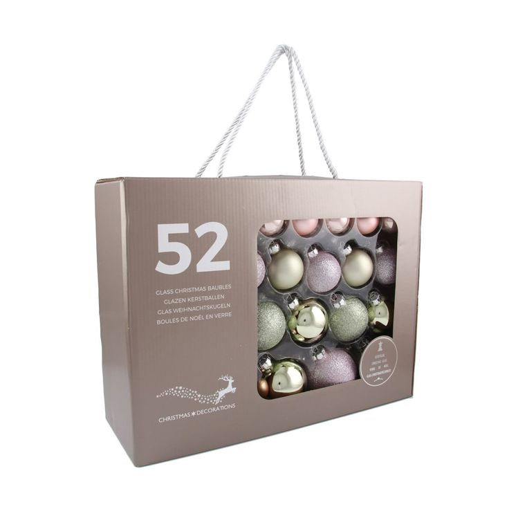52-piece glass Christmas baubles set. Matt, shiny and glitter romantic mix. The set consists of 16 baubles with a 4 cm diameter, 14 baubles with a 5 cm diameter, 12 baubles with a 6 cm diameter, and 10 baubles with a 7 cm diameter. Supplied in a handy case.
