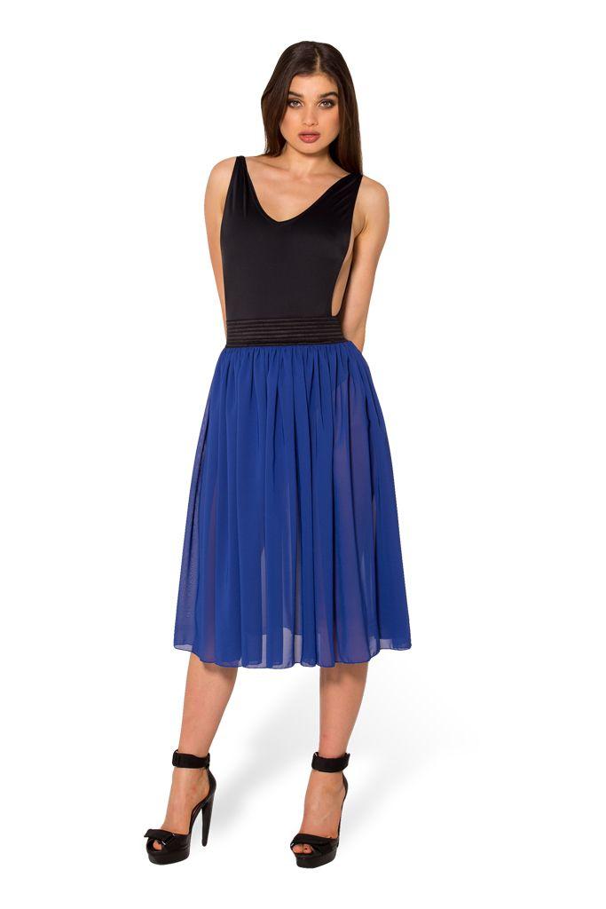 Chiffon Royal Blue Midi Skirt - LIMITED (WW $65AUD / US $60USD) by Black Milk Clothing