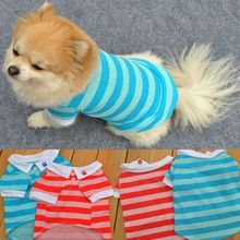 #Petdog #DogClothes 2017 new arrival 2 color Cotton Lapel Stripe summer t-shirt vest cheap puppy clothes Pet Dog Clothes for small dogs summer hot(China)