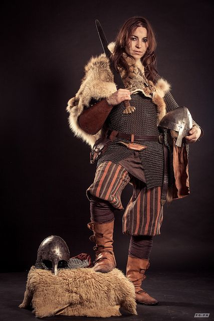 Damn I love this. And she's clothed! Full mail shirt, what world is this? // Viking Warrior   Flickr - Photo Sharing!